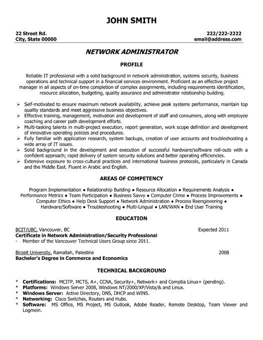 resume template for network administrator you can it and make your own examples templates Resume System Administrator Resume Sample