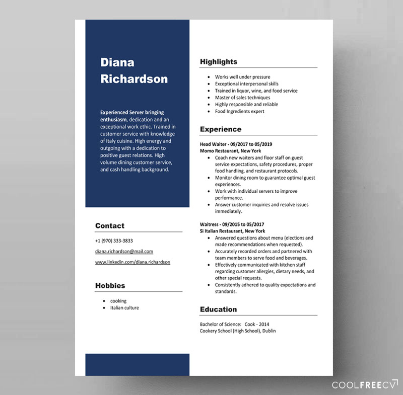 resume templates examples free word linkedin builder format template waiter idq Resume Linkedin Resume Builder Word Format