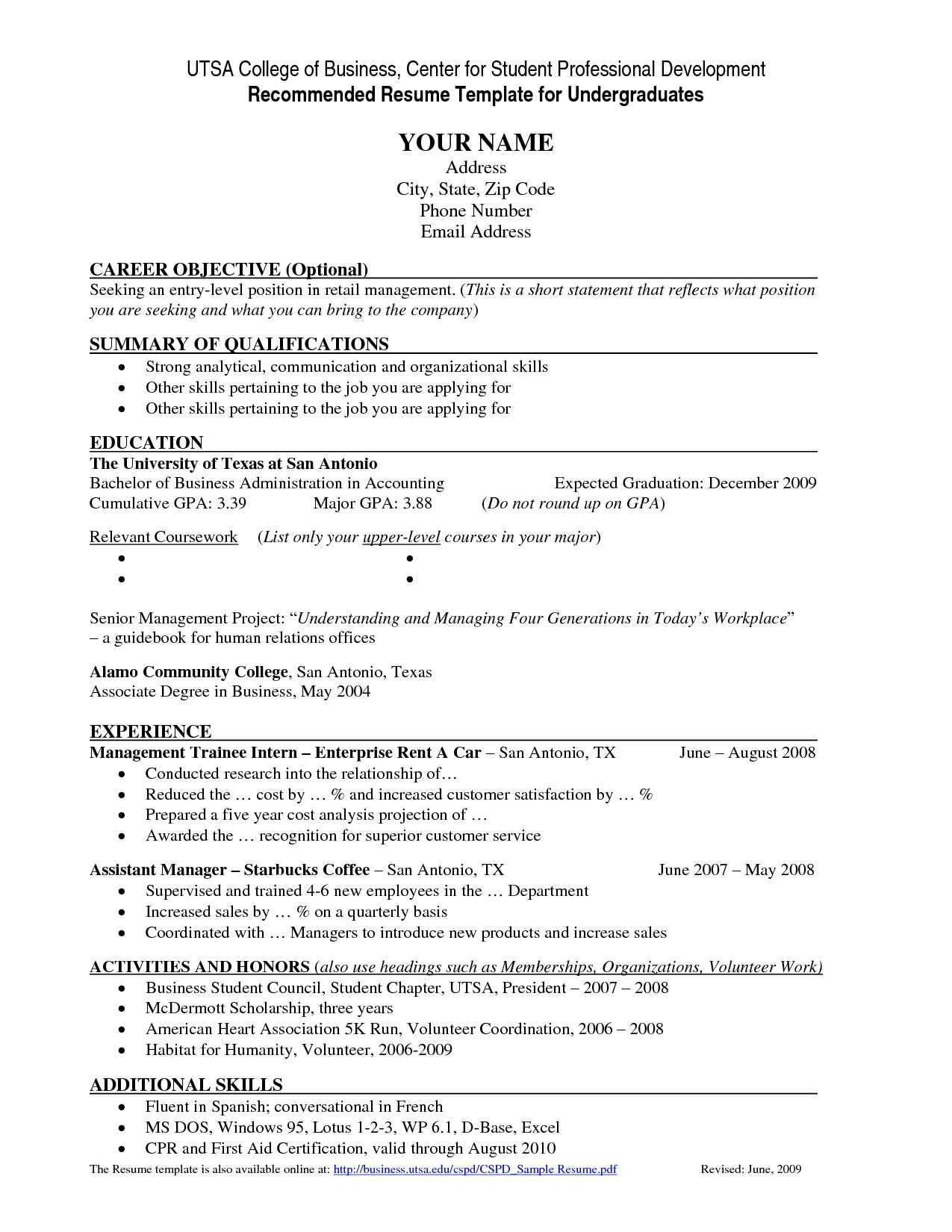 resume templates undergraduate student template college job examples samples annotated Resume Undergraduate College Resume Samples