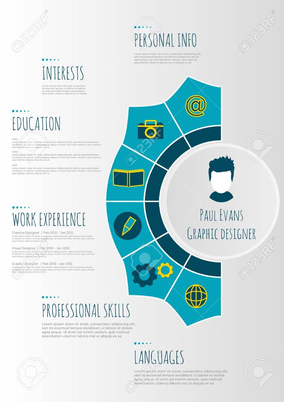 resume timeline infographic flat design cv set with infographics and clean vector high Resume Infographic Resume Timeline