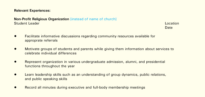 resume tips for diverse populations buckeye onpace organization on relevant experiences Resume Organization On A Resume