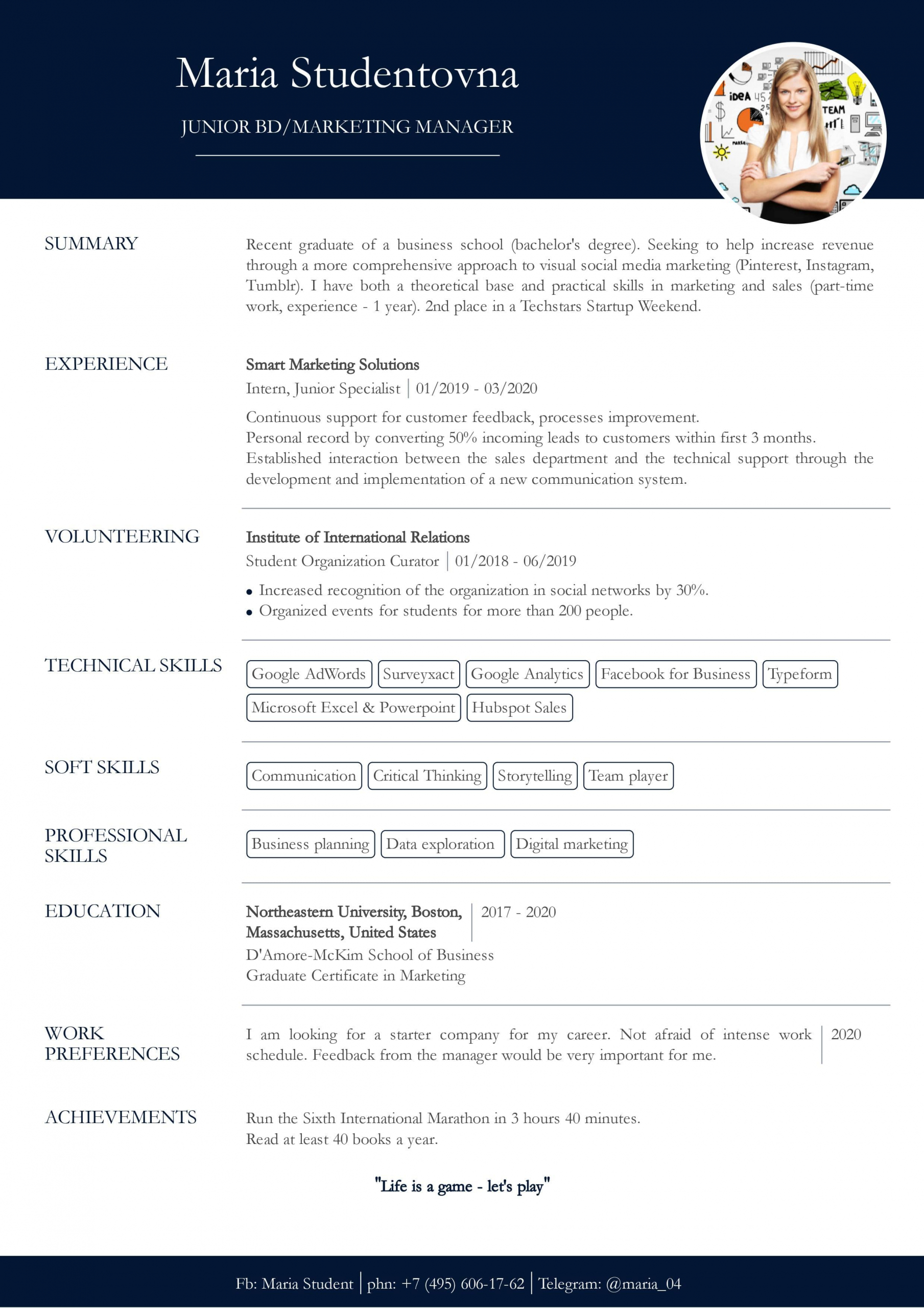 resume with no work experience sample for students cv2you blog college student little Resume Resume For College Student With Little Experience