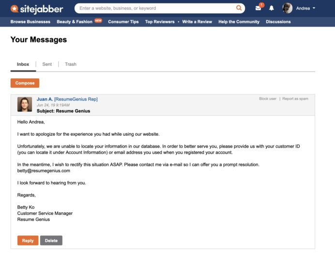 resumegenius reviews of sitejabber dashboard resume genius objective examples for any Resume Dashboard Resume Genius