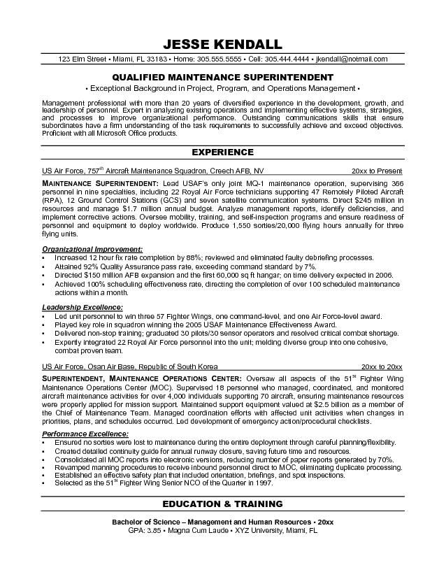 resumes maintenance supervisor resume objective examples good for manager format freshers Resume Maintenance Manager Resume Objective