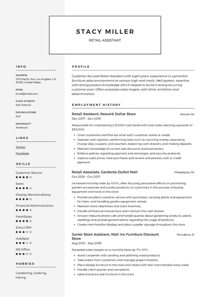 retail assistant resume template writing office accountant polishing service for dietary Resume Resume Polishing Service