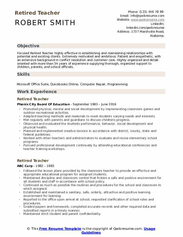 retired teacher resume samples qwikresume for pdf federal template assisted living duties Resume Resume For Retired Person