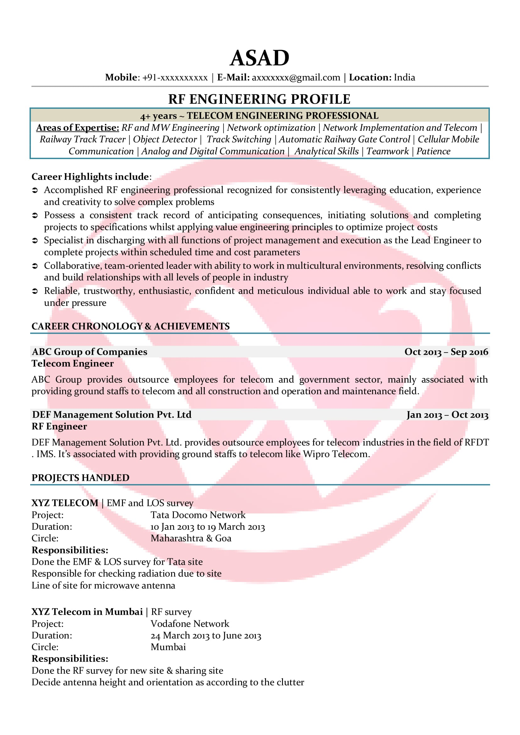 rf engineer sample resumes resume format templates for freshers student college Resume Rf Engineer Resume For Freshers