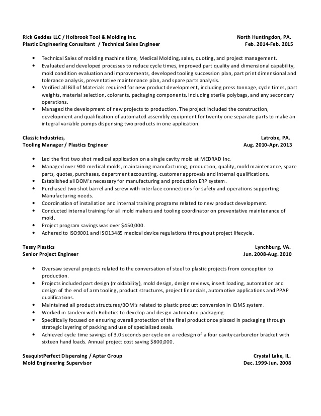 ricky dwaine geddes resume updated injection moulding college student sample for fresh Resume Injection Moulding Resume