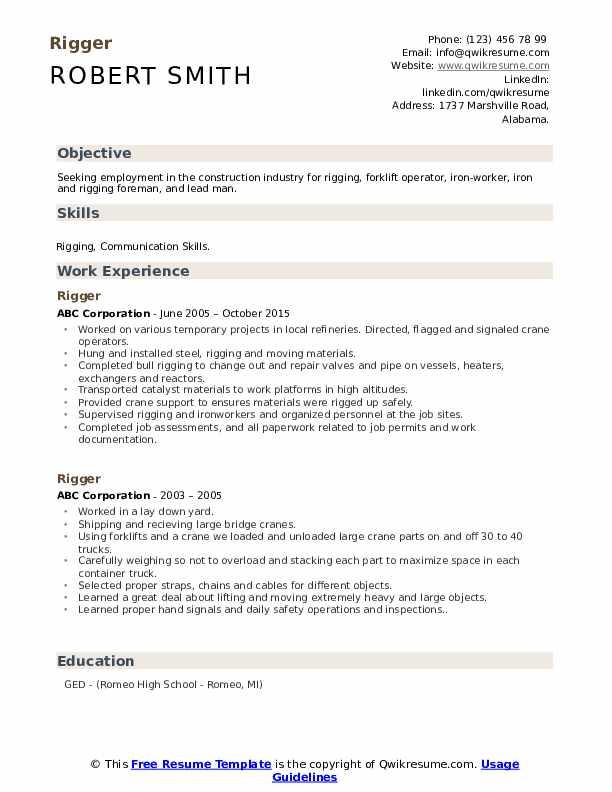 rigger resume samples qwikresume offshore experience pdf massage cover letter objective Resume Offshore Experience Resume