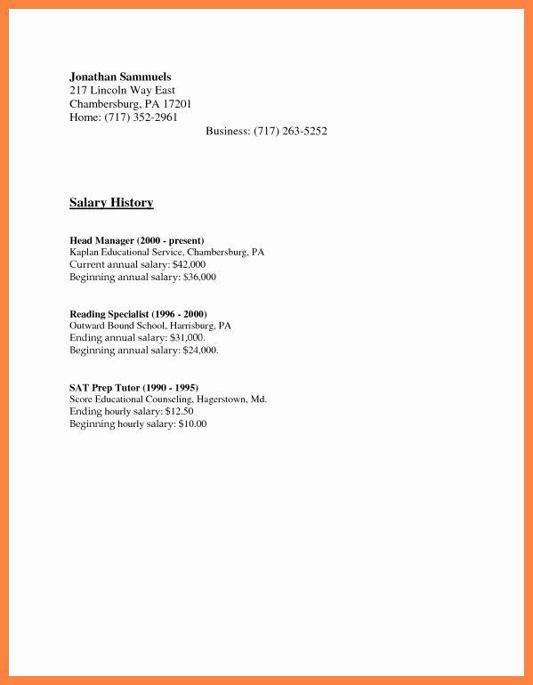 salary requirement sample letter new history examples resume cover requirements for with Resume Resume With Salary History