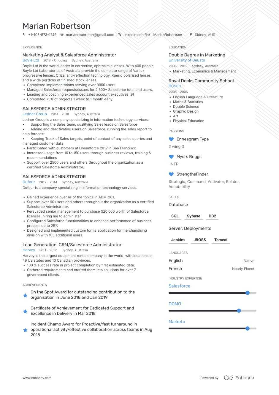 salesforce resume examples expert advice enhancv admin for years experience insurance Resume Salesforce Admin Resume For 3 Years Experience
