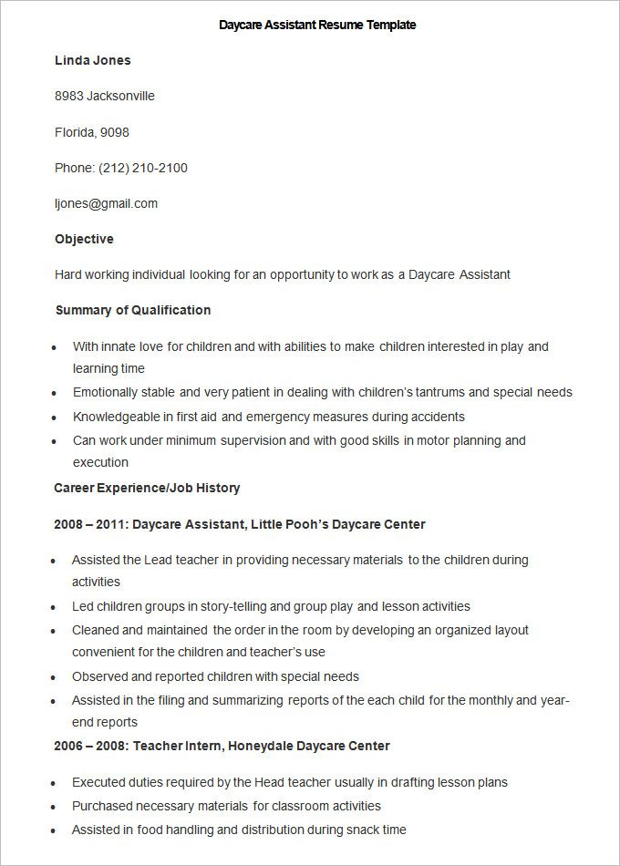 sample daycare assistant resume template to make good teacher the free preschool format Resume Preschool Teacher Assistant Resume