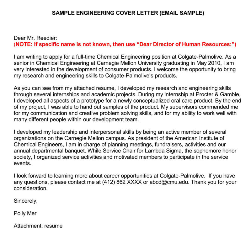 sample email cover letters examples to write and send resume letter via engineering Resume Resume Cover Letter Via Email