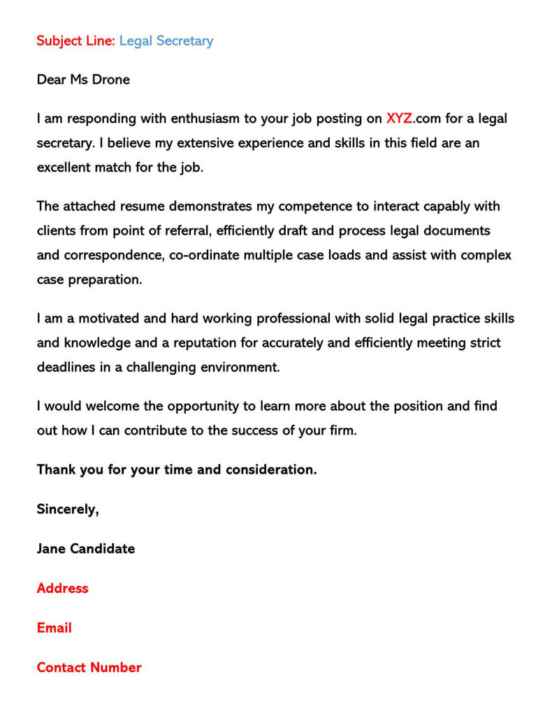 sample email cover letters examples to write and send resume letter via legal secretary Resume Resume Cover Letter Via Email