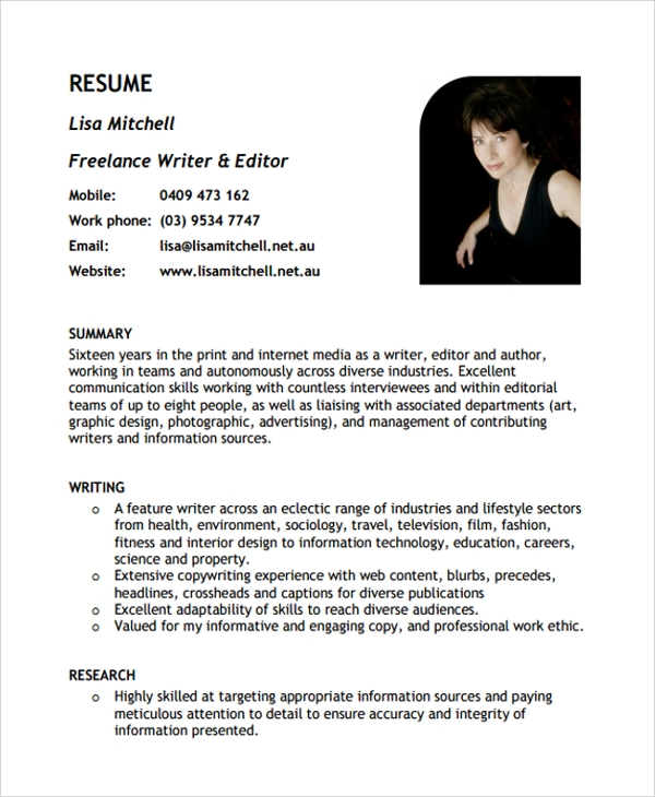 sample freelance resume templates in pdf ms word creative writer example resume1 received Resume Creative Writer Resume Example
