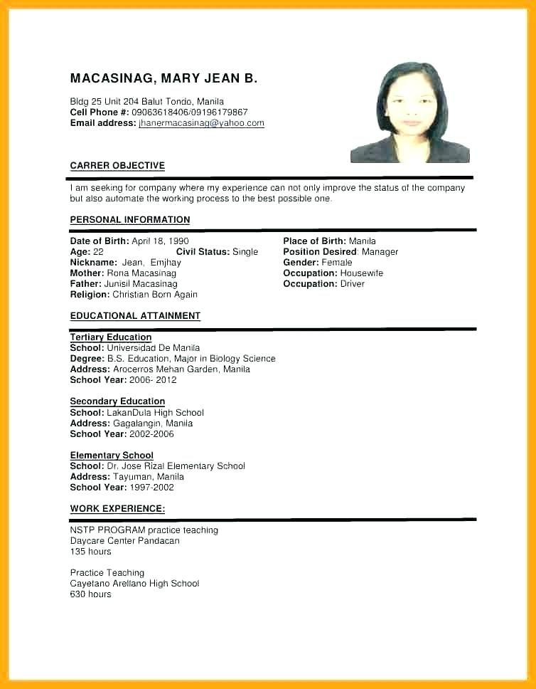 sample of resume format for job application templates examples image business development Resume Image Of Resume For Job Application