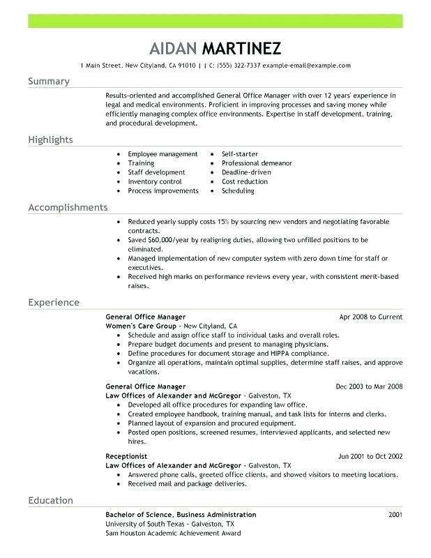 sample office manager resume examples for general position python developer years Resume Resume Sample For General Manager Position