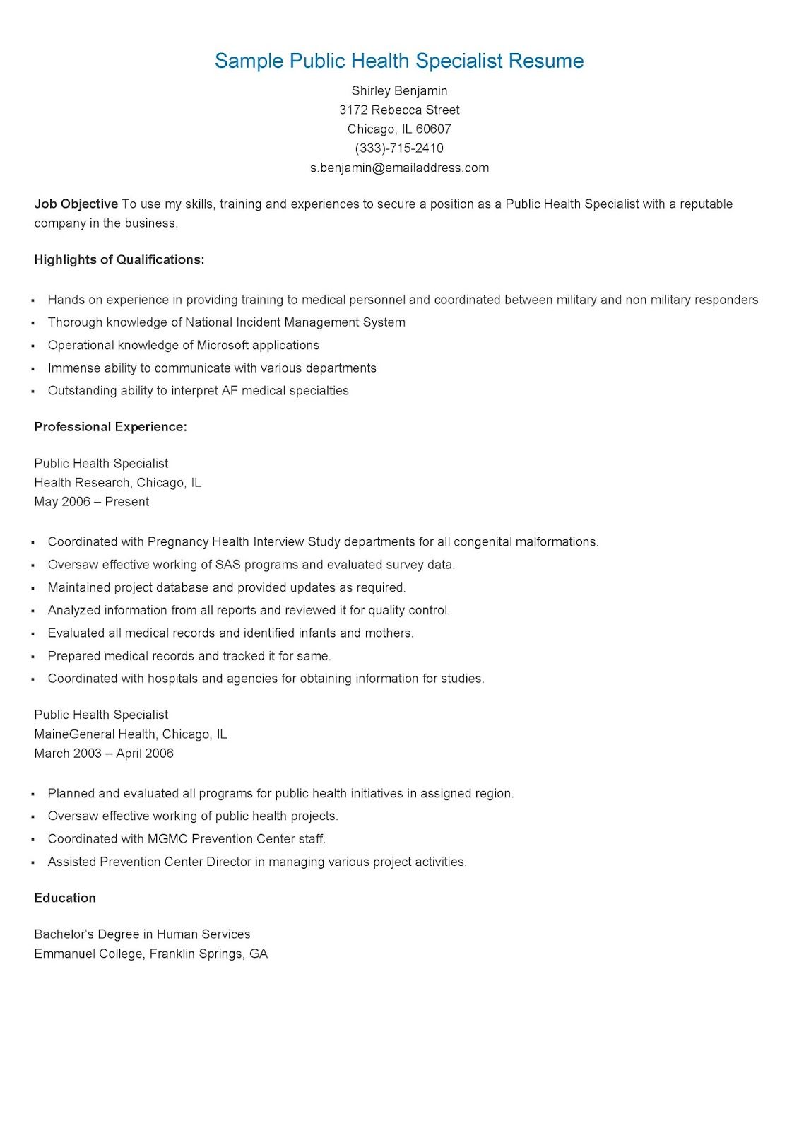 sample public health specialist resume examples jobs for graduate school introduction Resume Resume For Public Health Graduate School