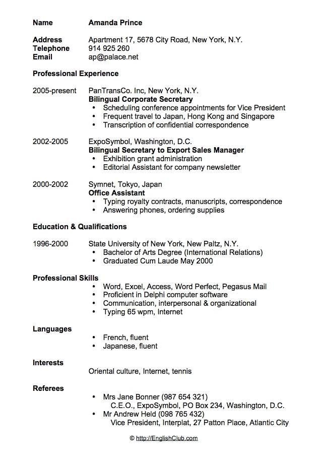 sample resume cv for secretary format template free bilingual objective oracle project Resume Bilingual Resume Objective