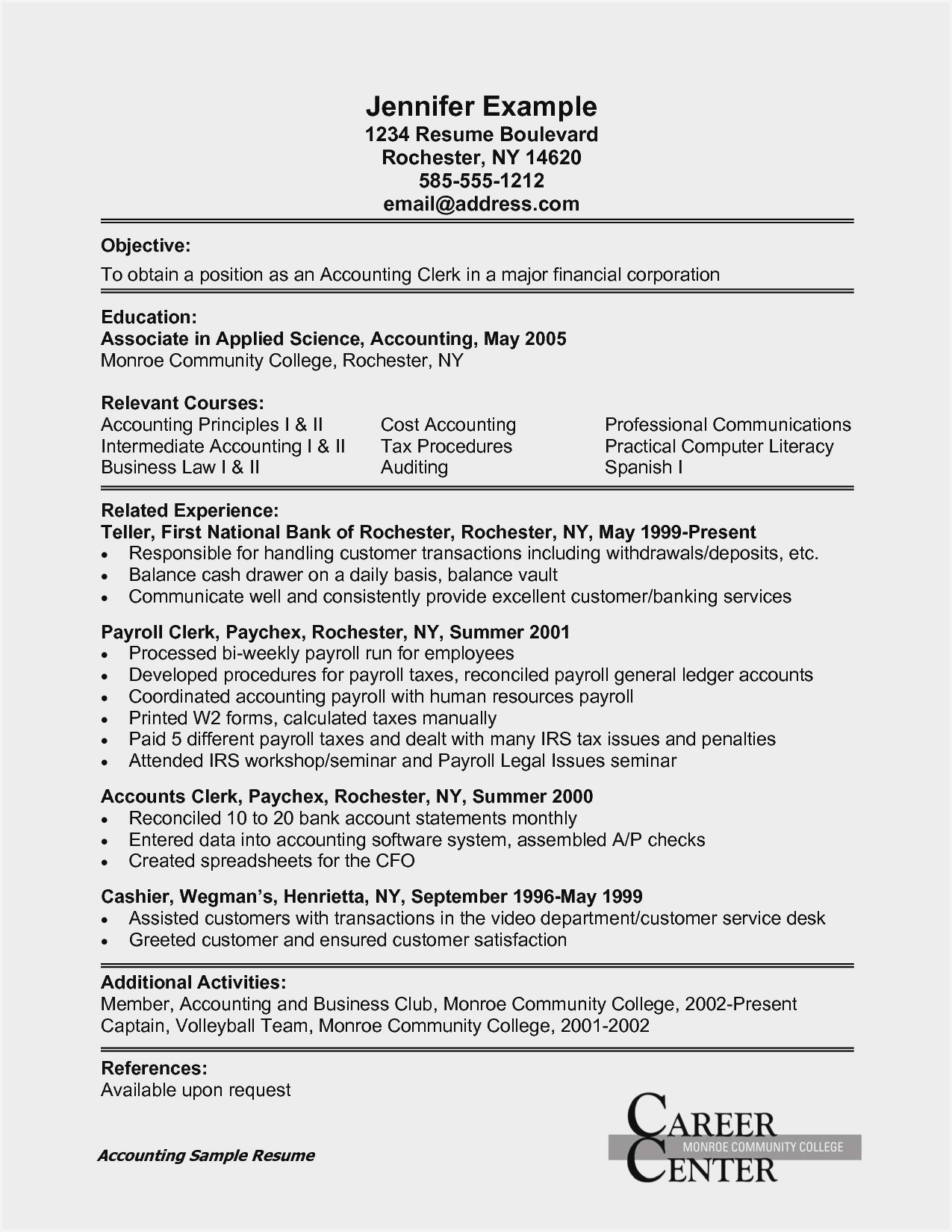 sample resume for accounting clerk position account job description high school student Resume Account Clerk Job Description For Resume