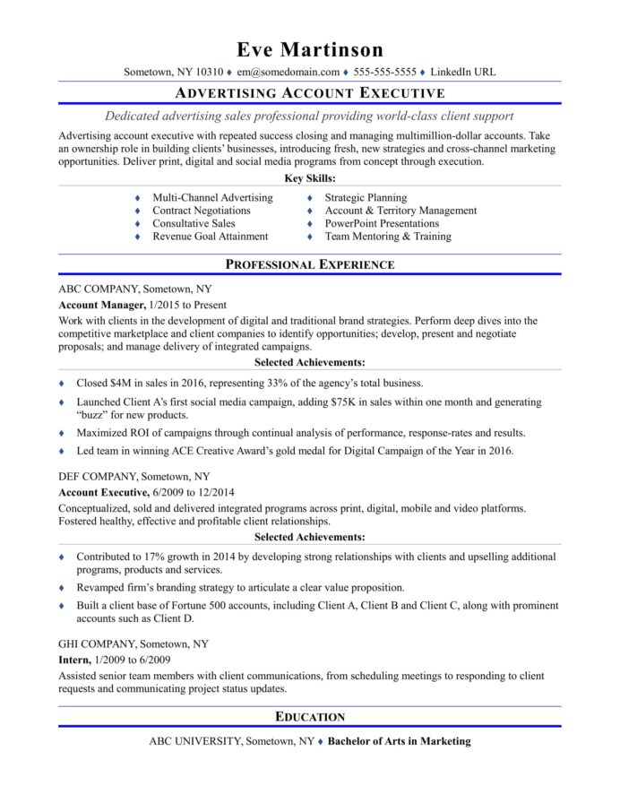 sample resume for an advertising account executive monster senior level stage crew Resume Senior Level Resume Sample