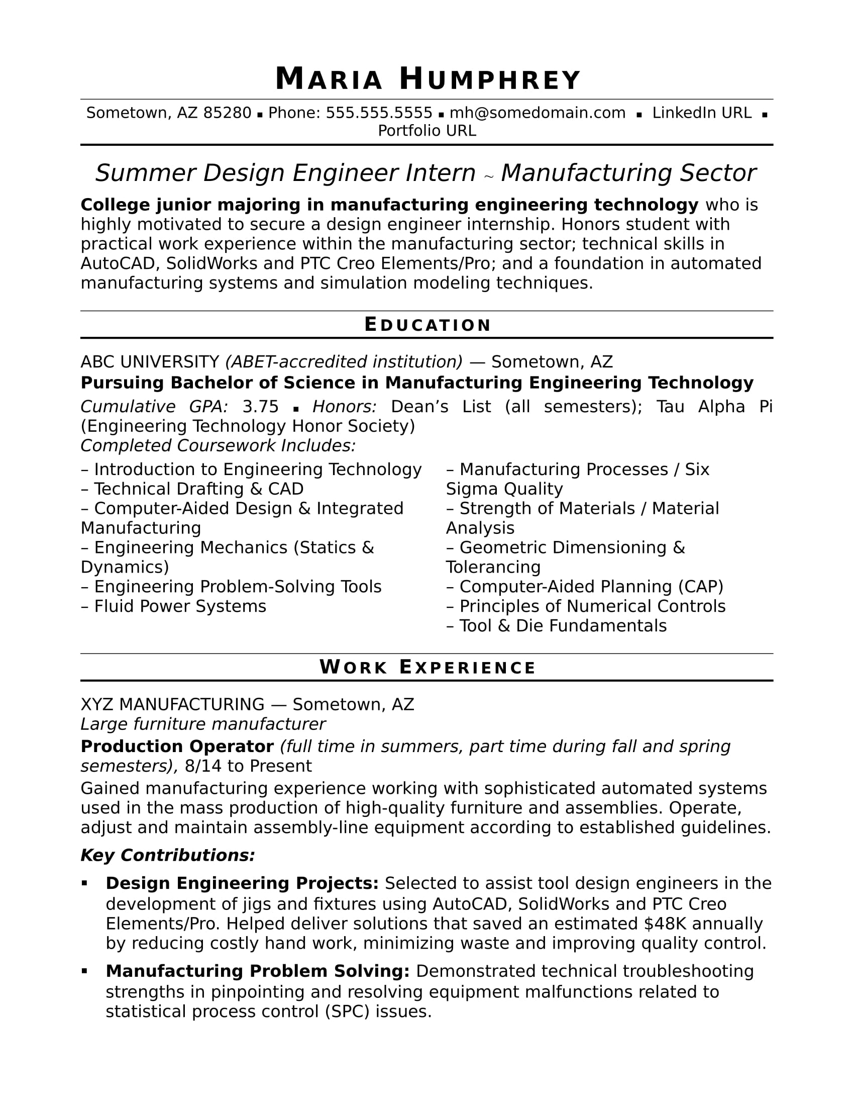 sample resume for an entry level design engineer monster engineering internship Resume Engineering Internship Resume