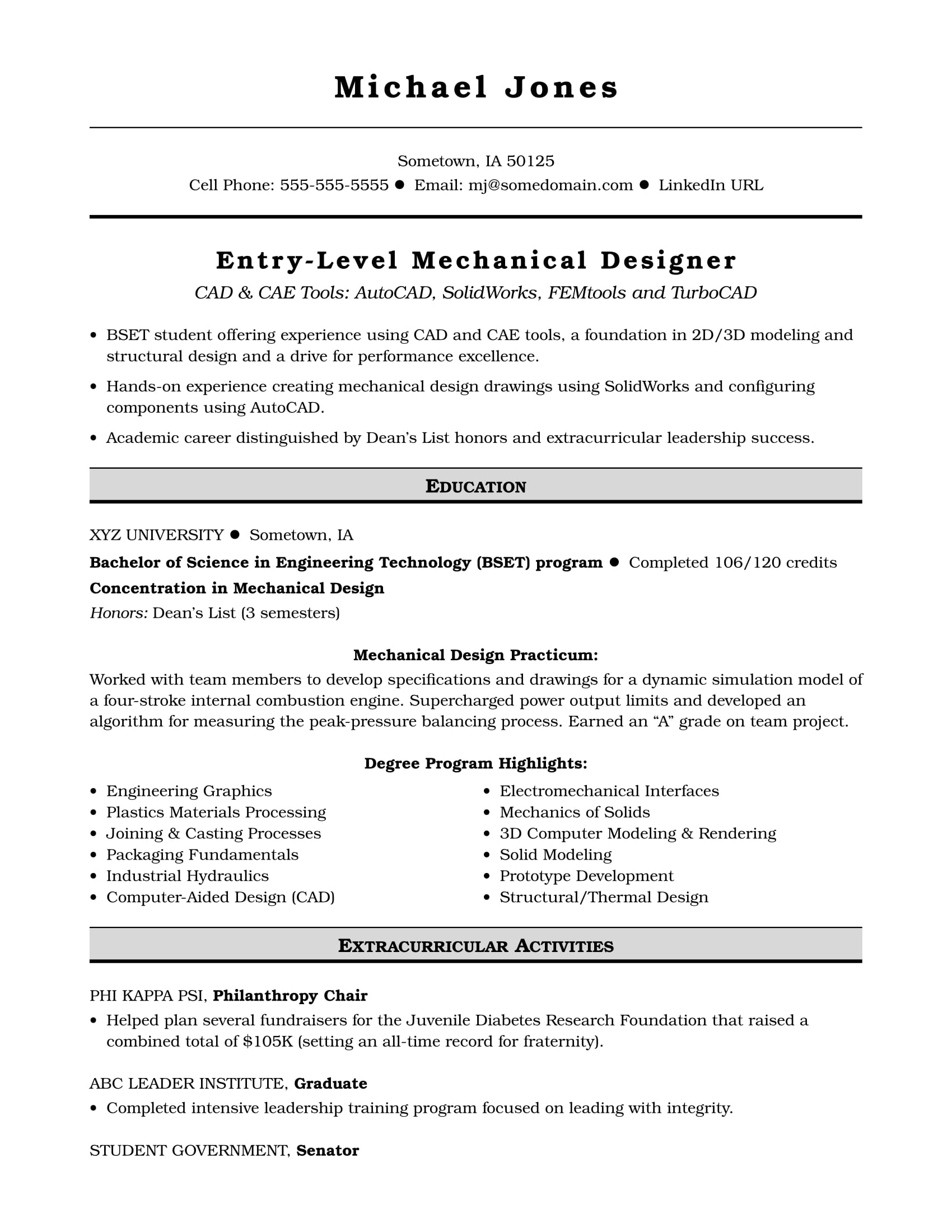 sample resume for an entry level mechanical designer monster engineering student Resume Entry Level Mechanical Engineering Resume