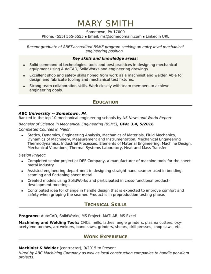 sample resume for an entry level mechanical engineer monster engineering with promotion Resume Entry Level Mechanical Engineering Resume