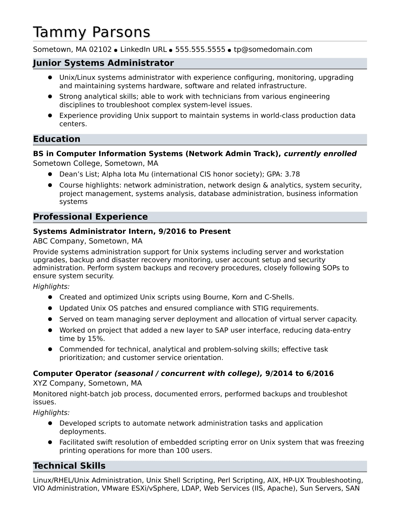 sample resume for an entry level systems administrator monster system admin format Resume System Admin Resume Format