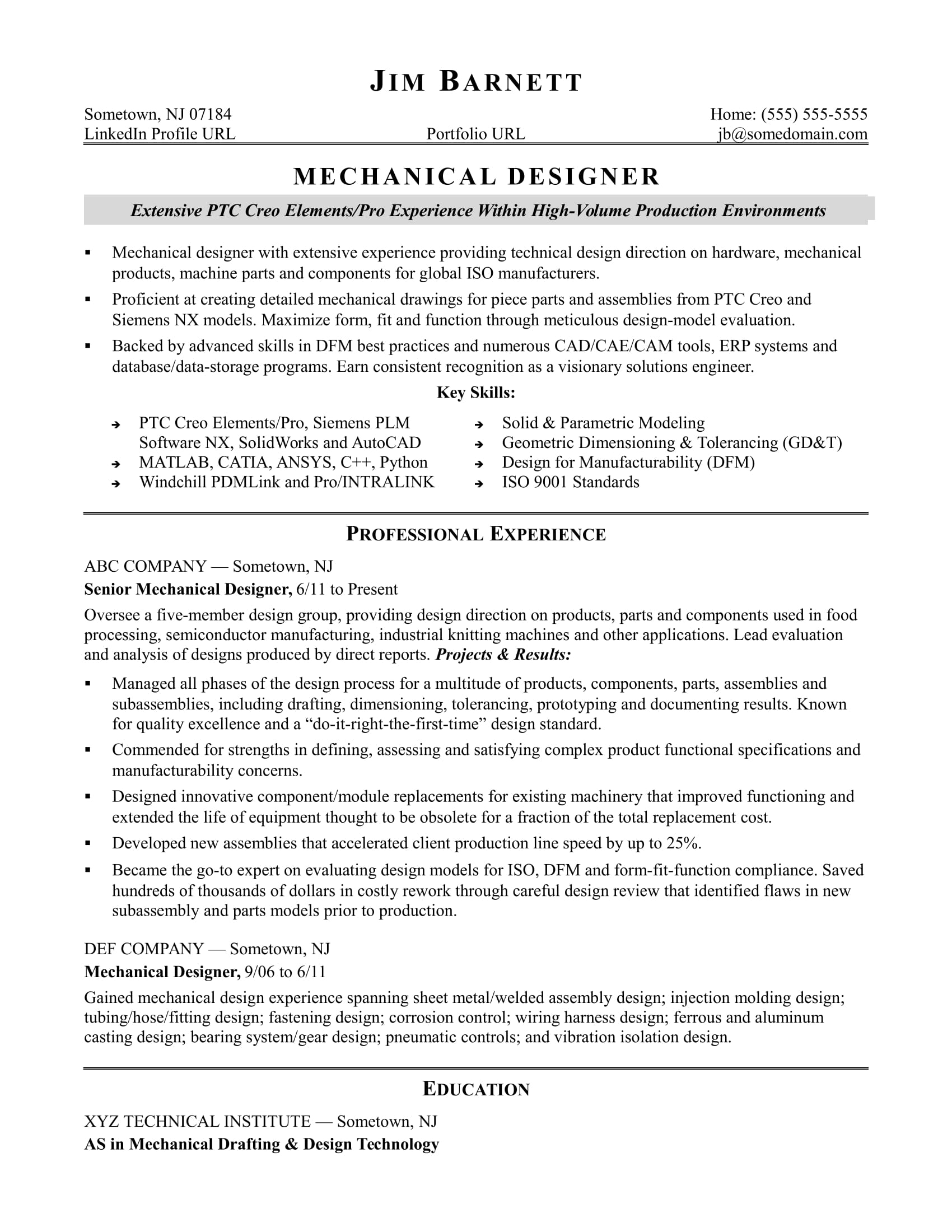 sample resume for an experienced mechanical designer monster experience clear free Resume Experience Sample Resume