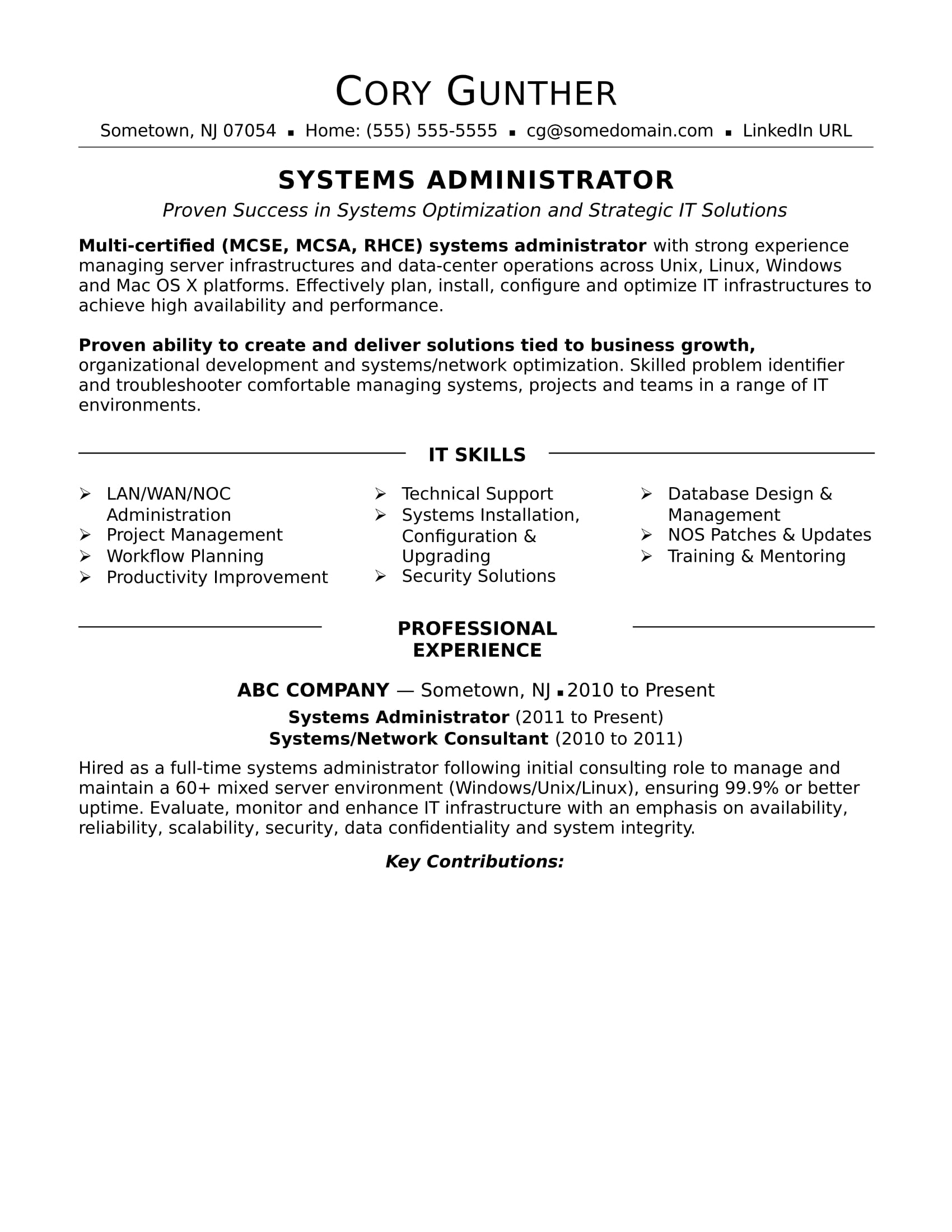sample resume for an experienced systems administrator monster system free executive Resume System Administrator Resume