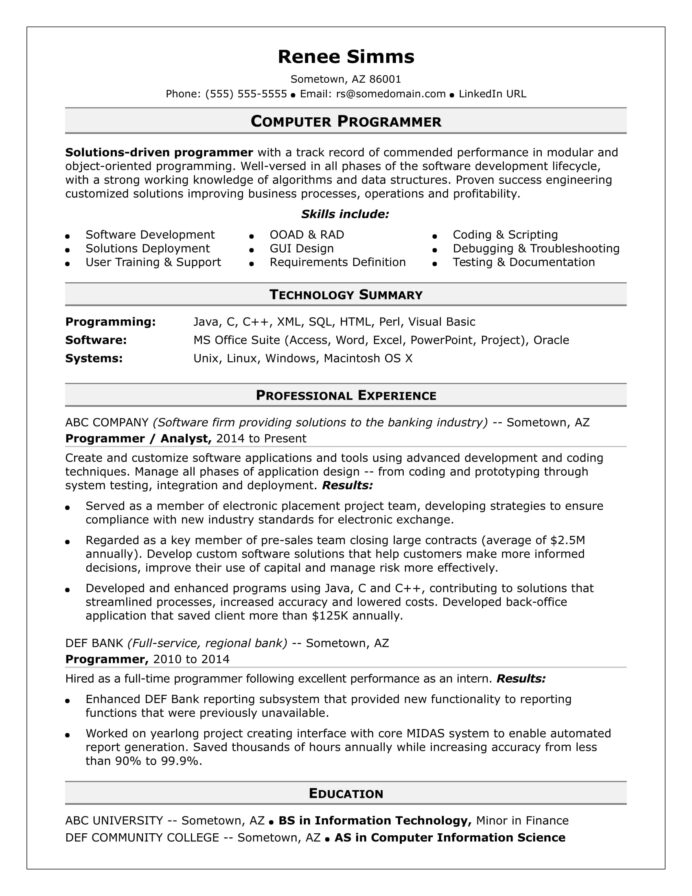 sample resume for midlevel computer programmer monster excel email rpi template personal Resume Excel Programmer Resume