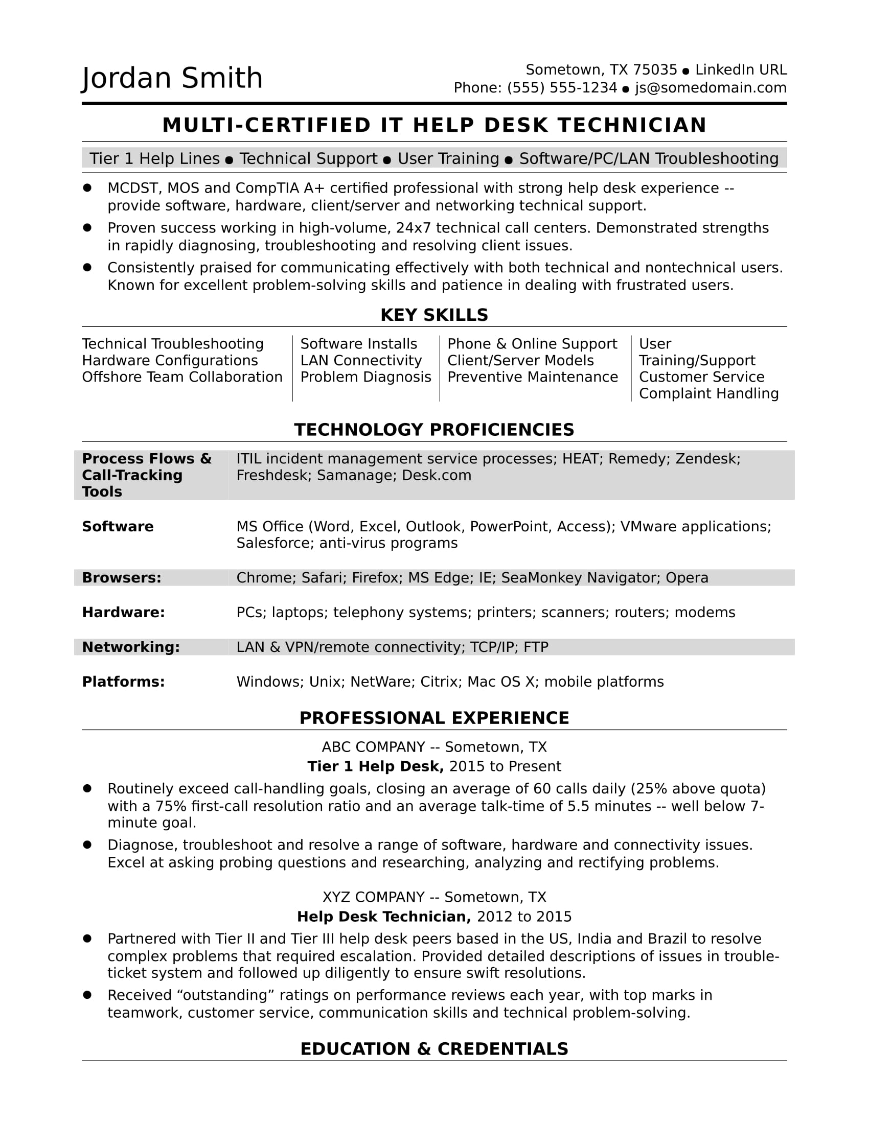 sample resume for midlevel it help desk professional monster support celta accounting Resume Help Desk Support Resume