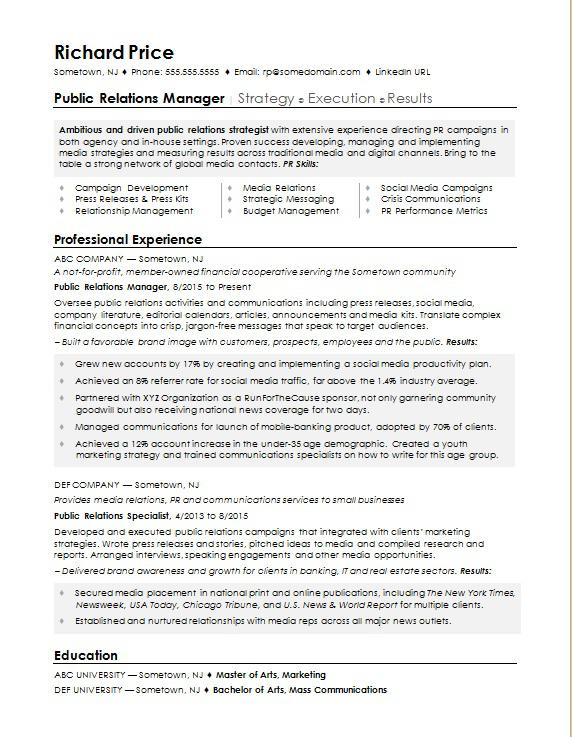 sample resume for public relations manager monster student pr chef examples of microsoft Resume Public Relations Student Resume