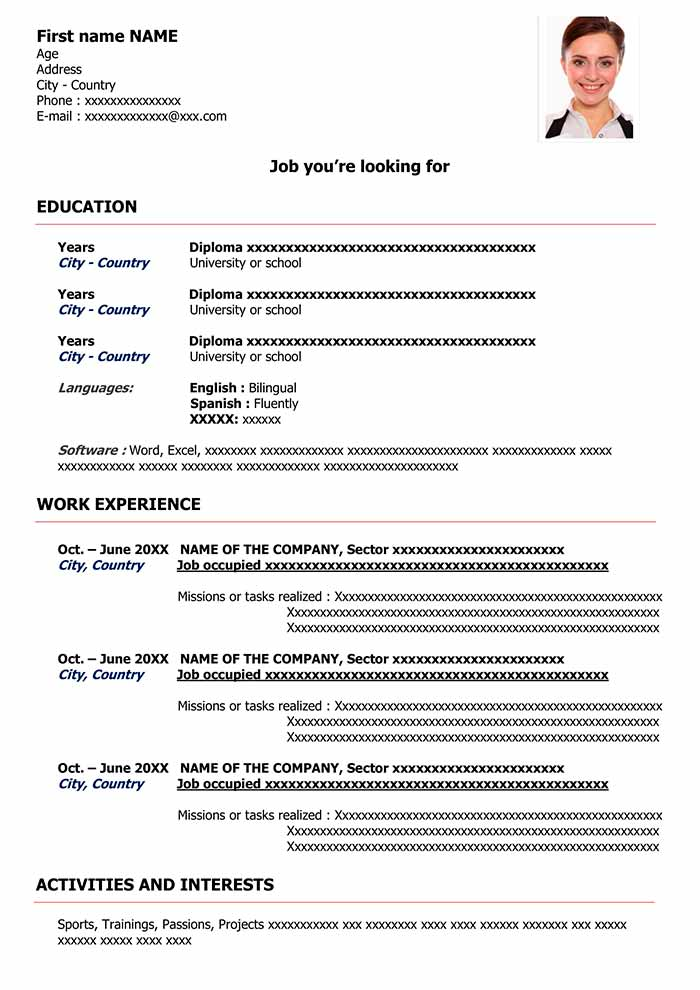 sample resume format for free cv word templates and examples classic red immigration Resume Resume Format And Examples
