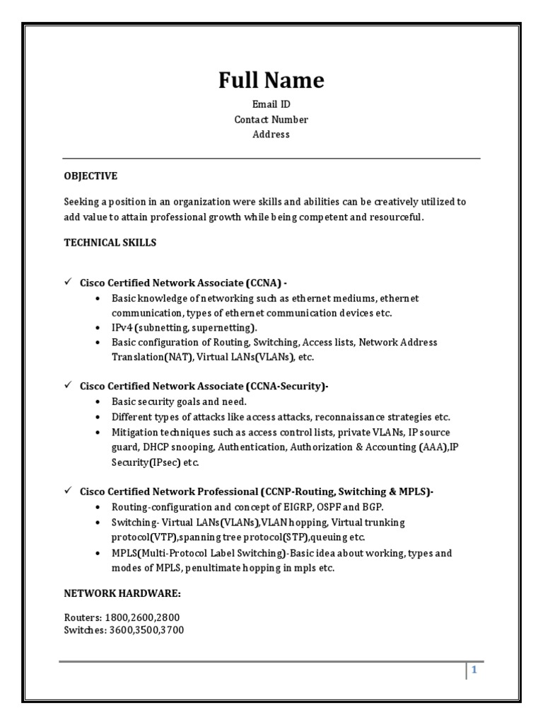 sample resume fresher ccna multiprotocol label switching networking routing and for Resume Ccna Routing And Switching Resume For Freshers