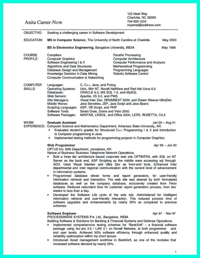 sample resume of computer science student claims adjuster summary maker for students Resume Computer Graphics Resume