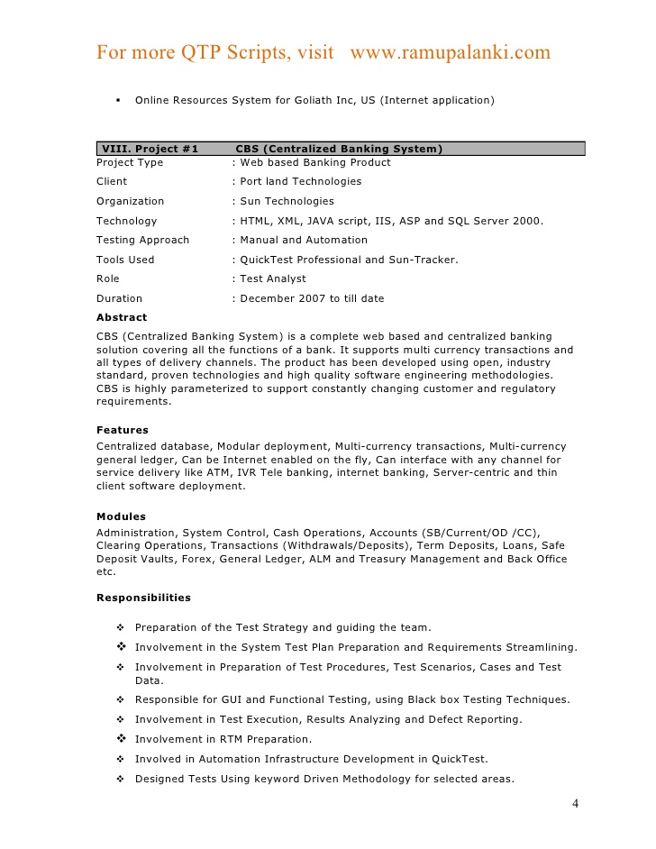 sample resume qtp automation testing jobs frudgereport494 web template job banking Resume Banking Projects For Testing Resume