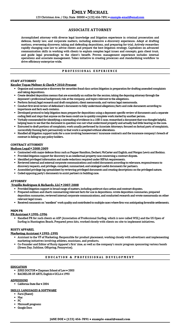 sample resumes for attorney legal law students experienced attorneys associate resume Resume Associate Attorney Resume