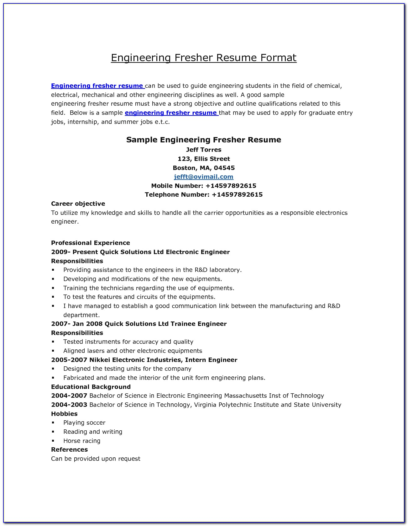 sample resumes for electrical engineers freshers vincegray2014 fresher engineer resume Resume Fresher Electrical Engineer Resume Sample