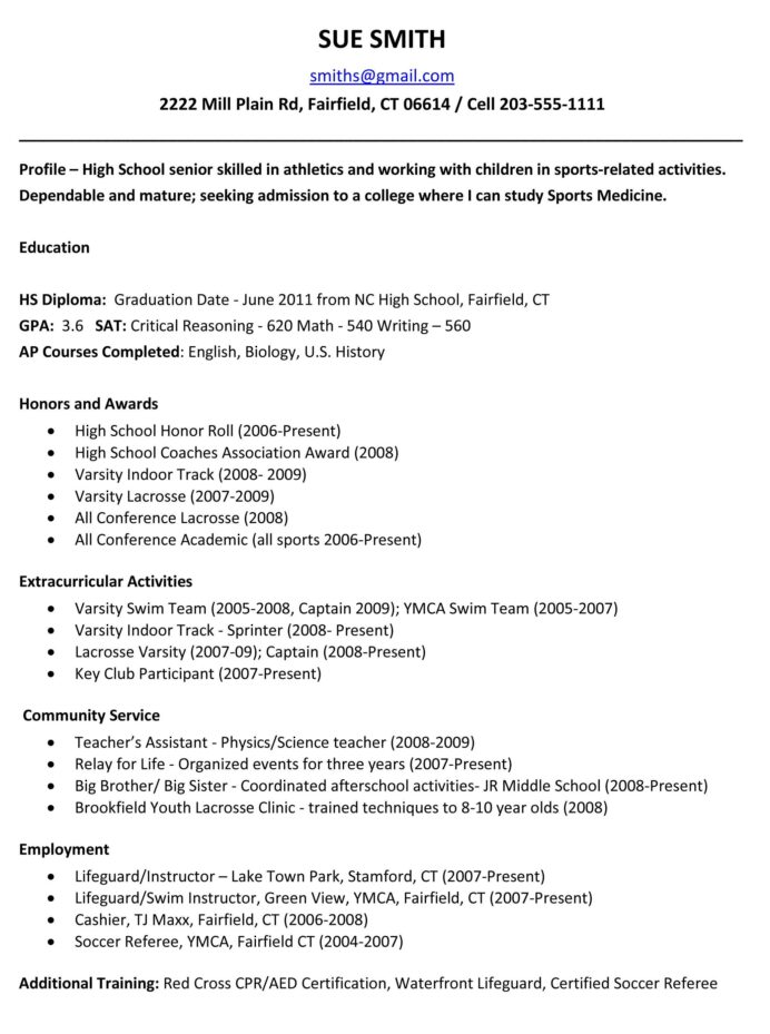 sample resumes high school resume template college application importance of writing Resume High School Resume Template