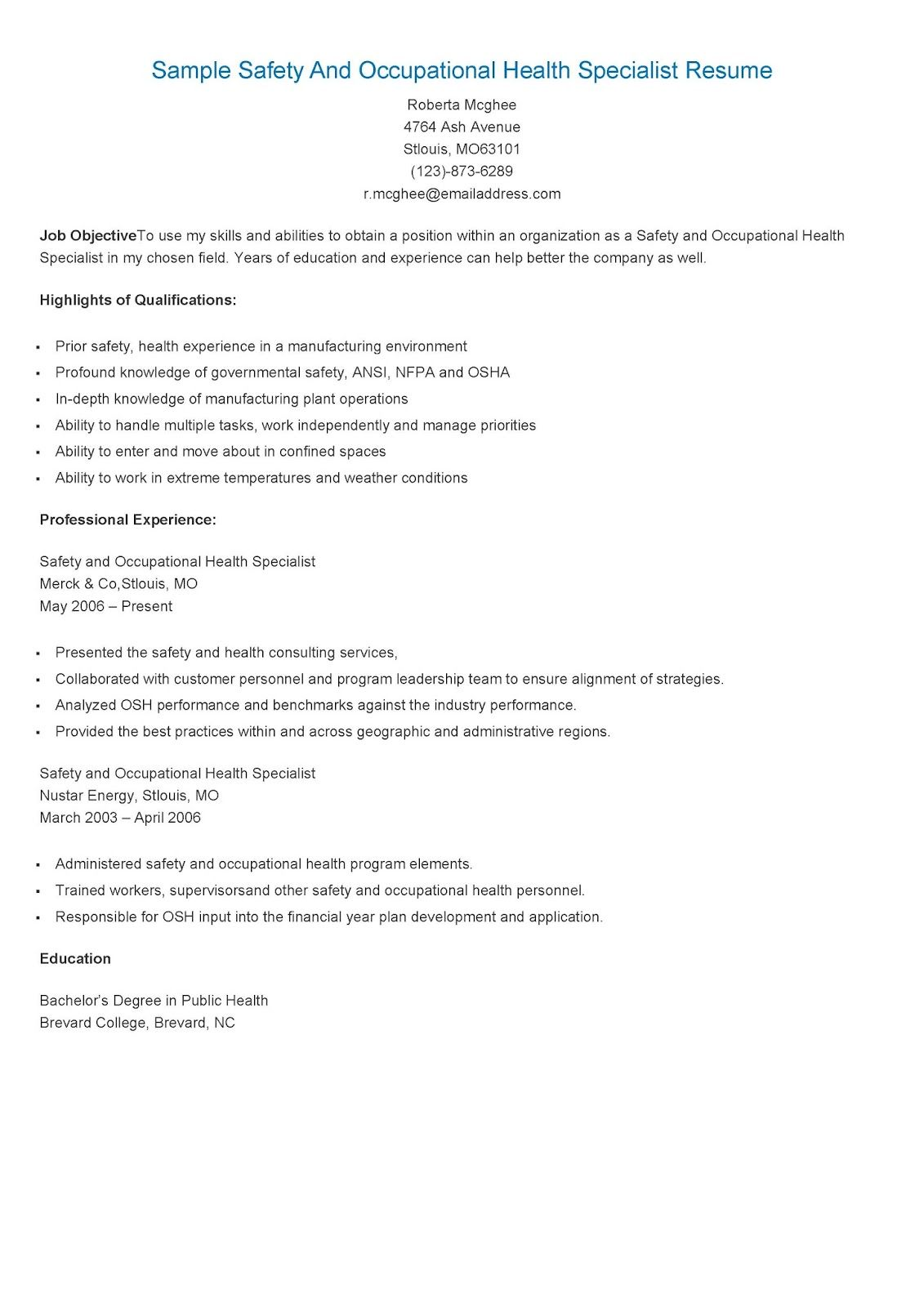 sample safety and occupational health specialist resume objective examples knowledge Resume Knowledge Management Resume Sample