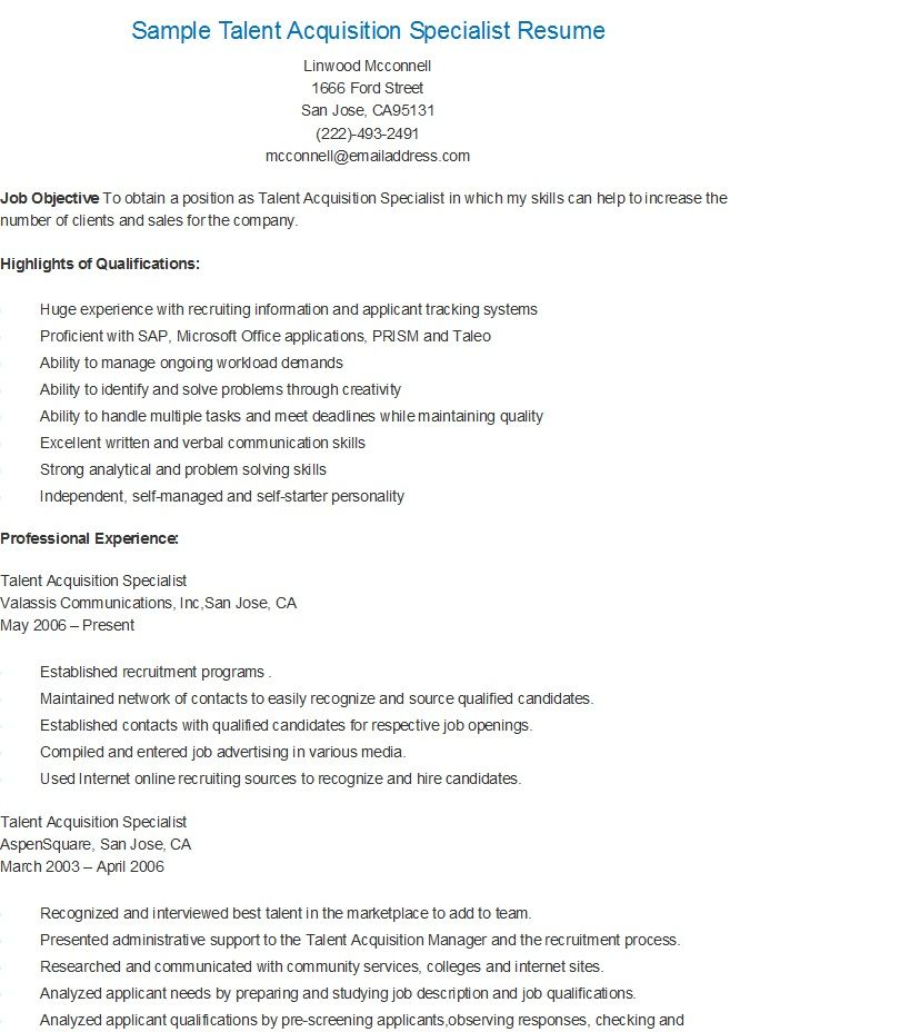 sample talent acquisition specialist resume performance evaluation director of Resume Director Of Talent Acquisition Resume