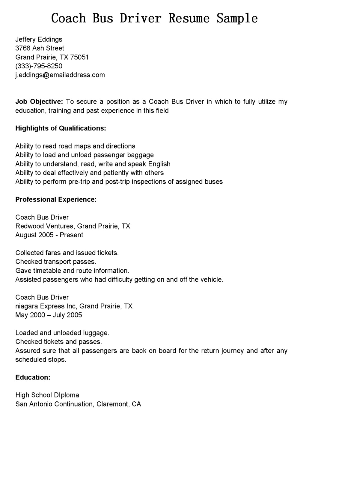 sample truck driver resume gotta yotti for bus position coach create golf linux device Resume Resume For Bus Driver Position