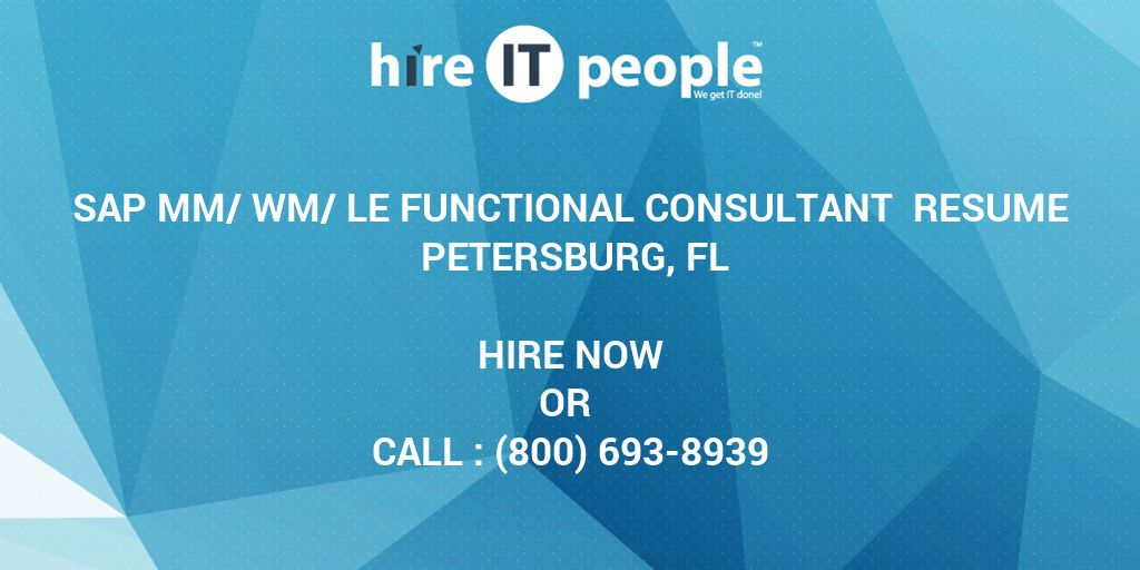 sap mm wm le functional consultant resume fl hire it people we get done staff accountant Resume Sap Wm Consultant Resume