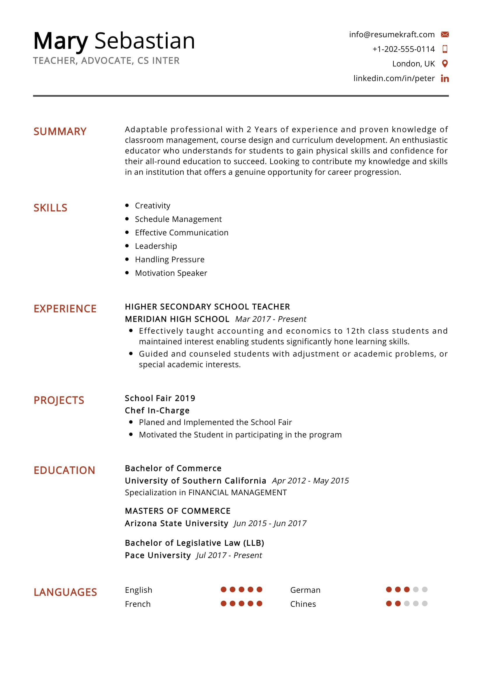 secondary school teacher resume sample resumekraft interests for law easy format job Resume Interests For Law Resume