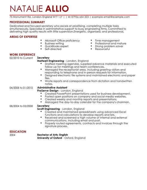 secretary admin assistant cv template samples examples resume full targeted best college Resume Secretary Resume Examples