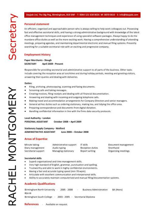 secretary resume template for job pic sample cna experience phone skills objective office Resume Resume Template For Secretary Job