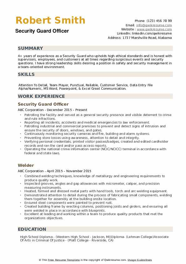 security guard resume samples qwikresume responsibilities pdf dance example consulting Resume Security Guard Responsibilities Resume