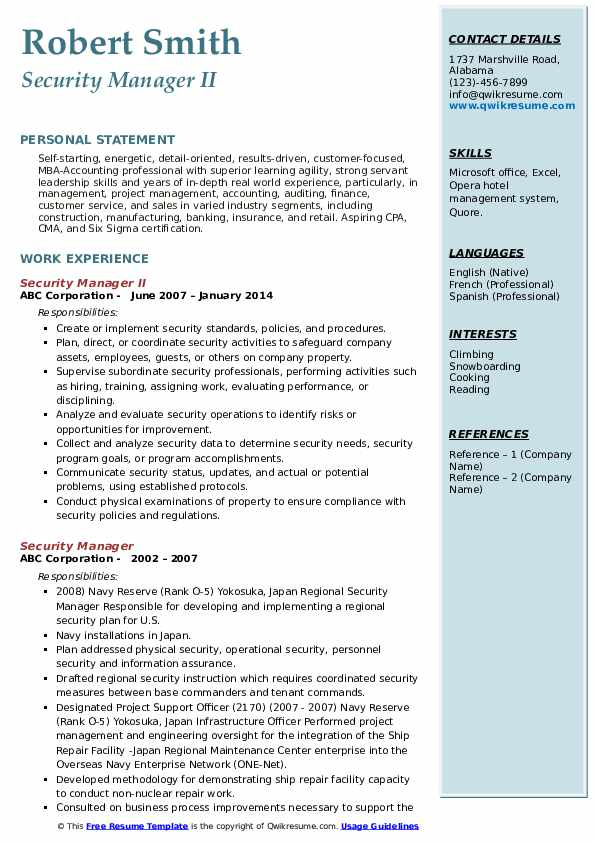 security manager resume samples qwikresume corporate pdf computer science reddit retail Resume Corporate Security Manager Resume